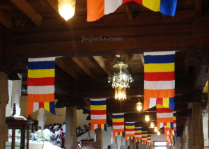 The Buddhist flag displayed at the Temple of the Sacred Tooth Relic, Kandy