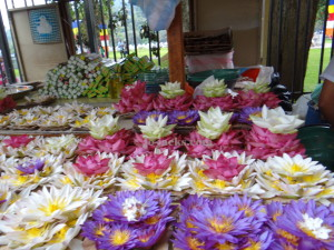 Lotus flowers for sale outside the temple
